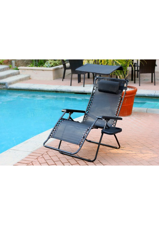 Set of 2 Oversized Zero Gravity Chair with Sunshade and Drink Tray - Black