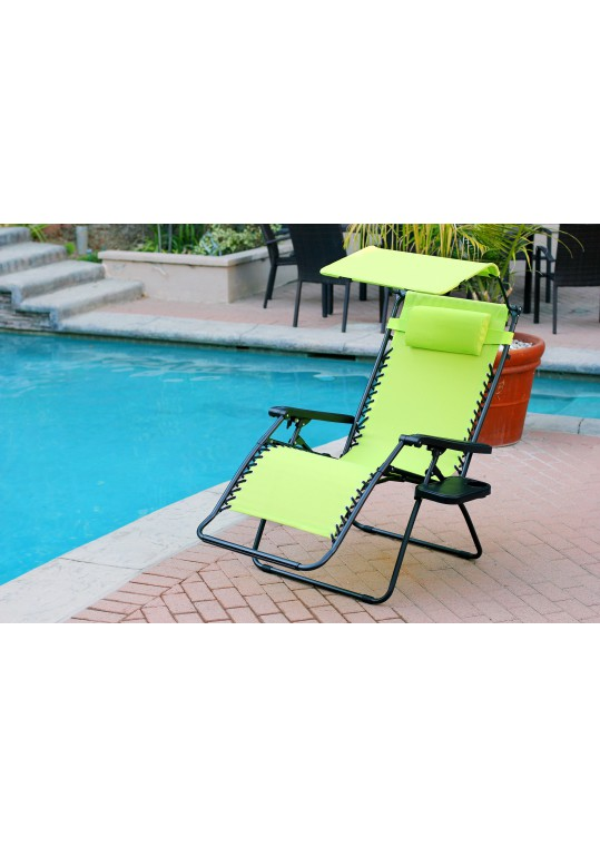 Set of 2 Oversized Zero Gravity Chair with Sunshade and Drink Tray - Lime Green