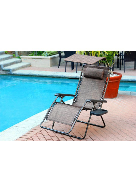 Set of 2 Oversized Zero Gravity Chair with Sunshade and Drink Tray - Brown Mesh