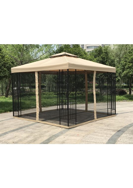 10' x 10 'Metal Gazebo With Double Roof And Netting