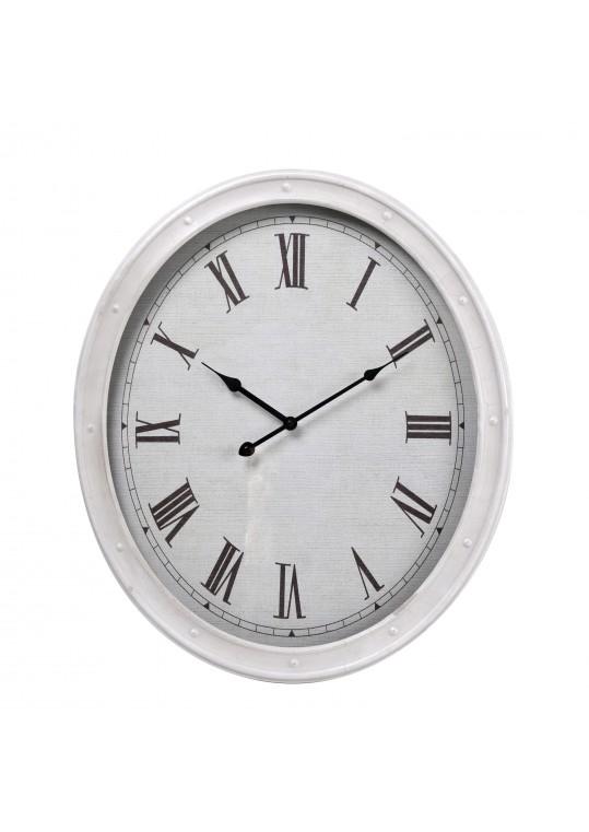 "20"" White Metal Oval Wall Clock"