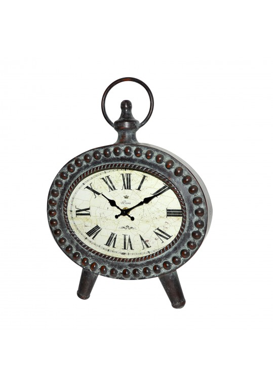 Copper Oval Metal Table Clock