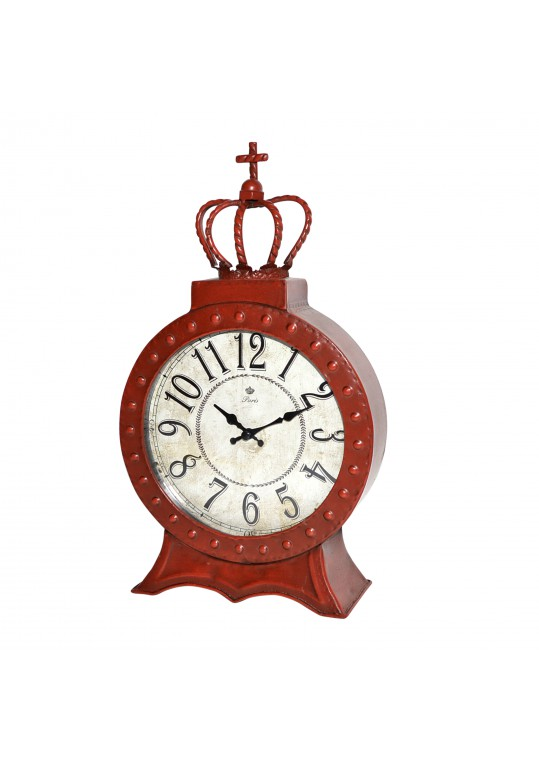 "8"" Red Metal Table Clock"