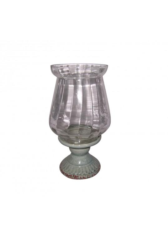 """15"""" Creamic Glass Hurricane Candle Holder"""