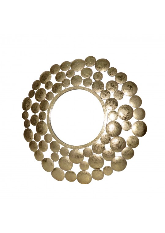 "35"" Gold Discs Pattern Wall Mirror"