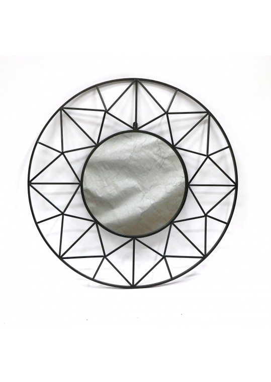 Metal Frame Patterned Wall Mirror