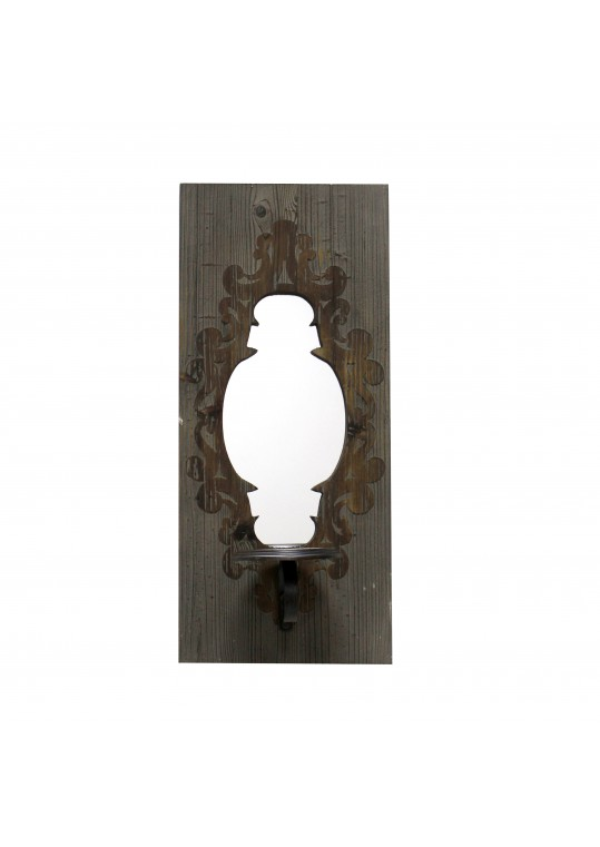"""22"""" Wall Mirror with Candle Holder- Blue"""