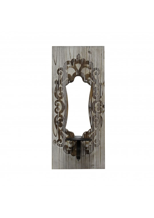 """22"""" Wall Mirror with Candle Holder- Cream"""