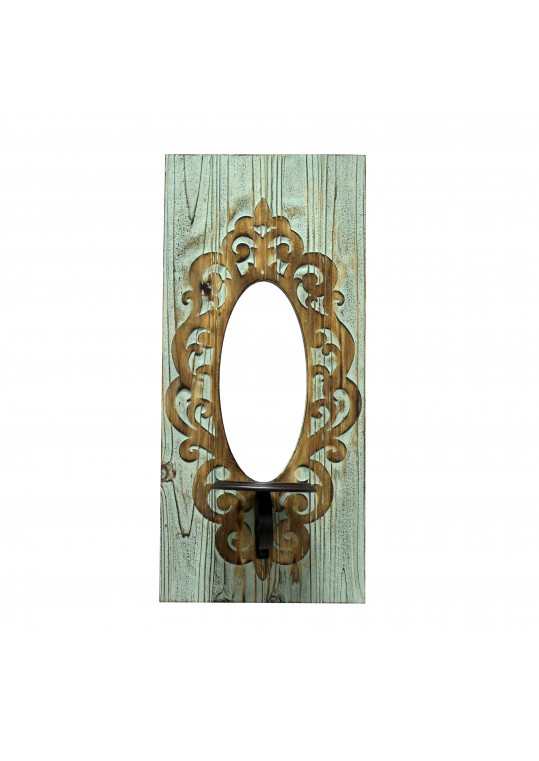 """22"""" Wall Mirror with Candle Holder- Grey"""