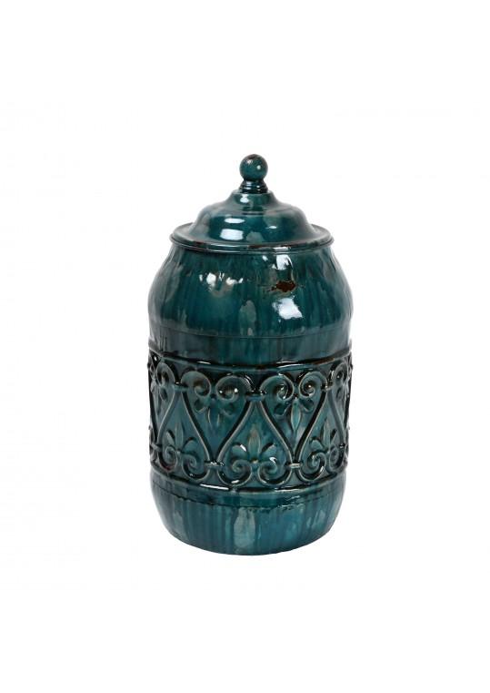 """10.5"""" Blue Metal Jar"""