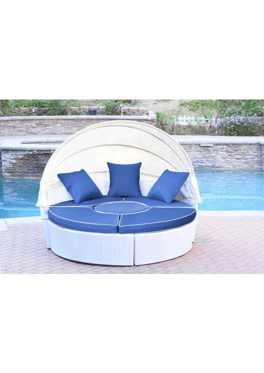 All-Weather White Wicker Sectional Daybed - Blue Cushions
