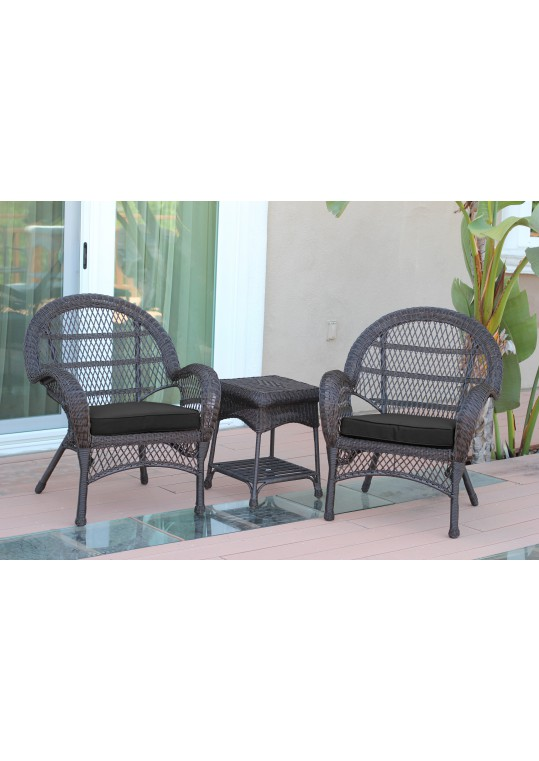 3pc Santa Maria Espresso Wicker Chair Set- Black Cushions