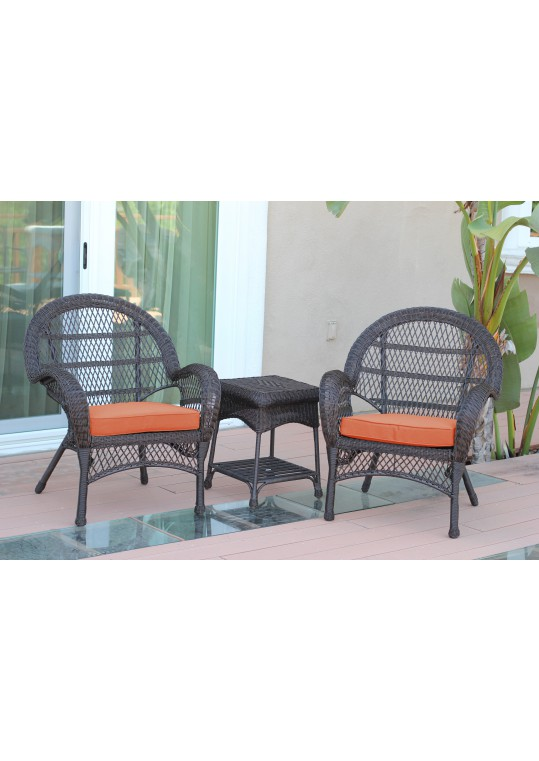 3pc Santa Maria Espresso Wicker Chair Set - Orange Cushions