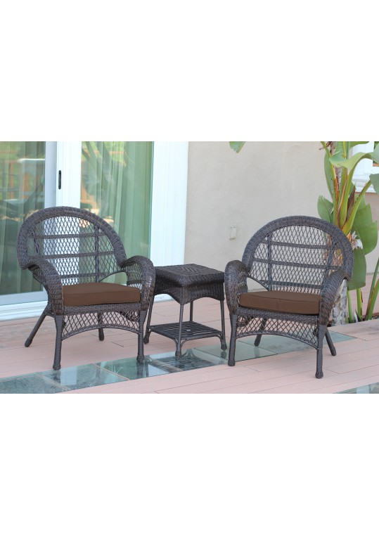 3pc Santa Maria Espresso Wicker Chair Set - Brown Cushions