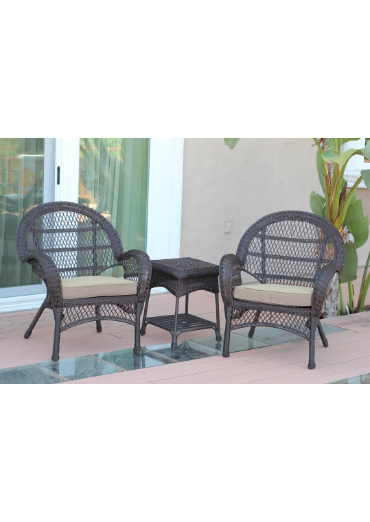 3pc Santa Maria Espresso Wicker Chair Set - Tan Cushions
