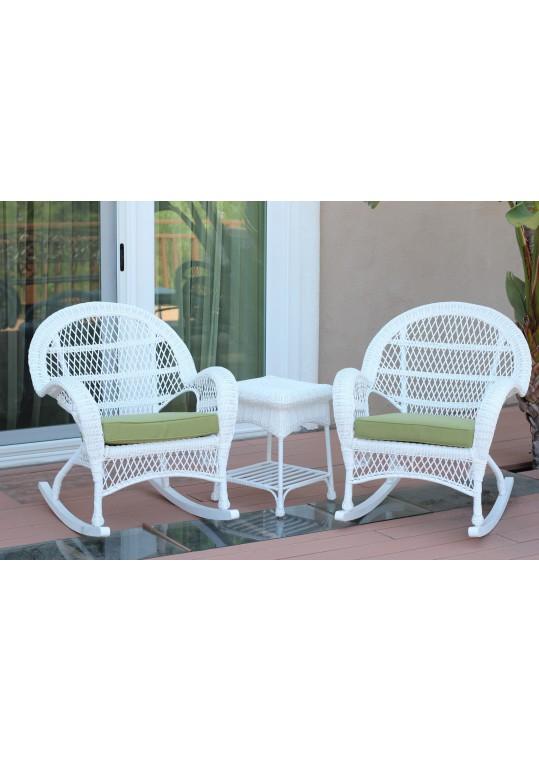 3pc Santa Maria White Rocker Wicker Chair Set - Green Cushions