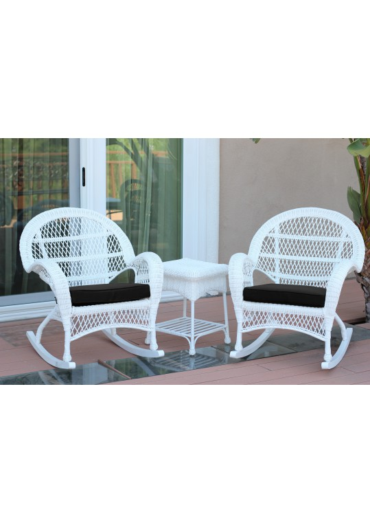 3pc Santa Maria White Rocker Wicker Chair Set - Black Cushions