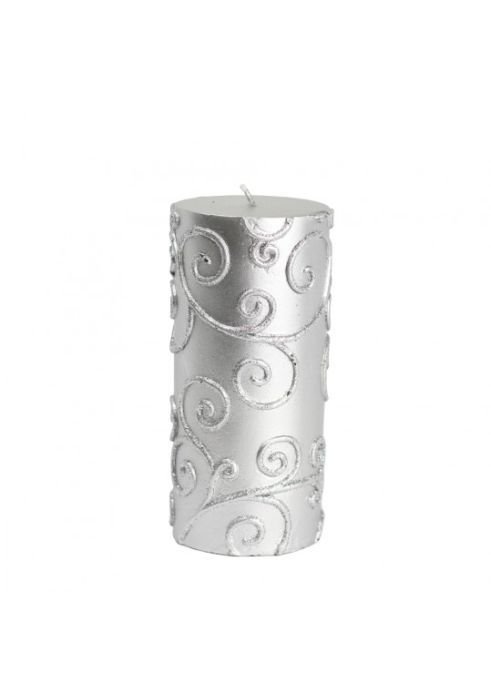 "3 x 6"" Silver Scroll Pillar Candle (12pcs/Case) Bulk"