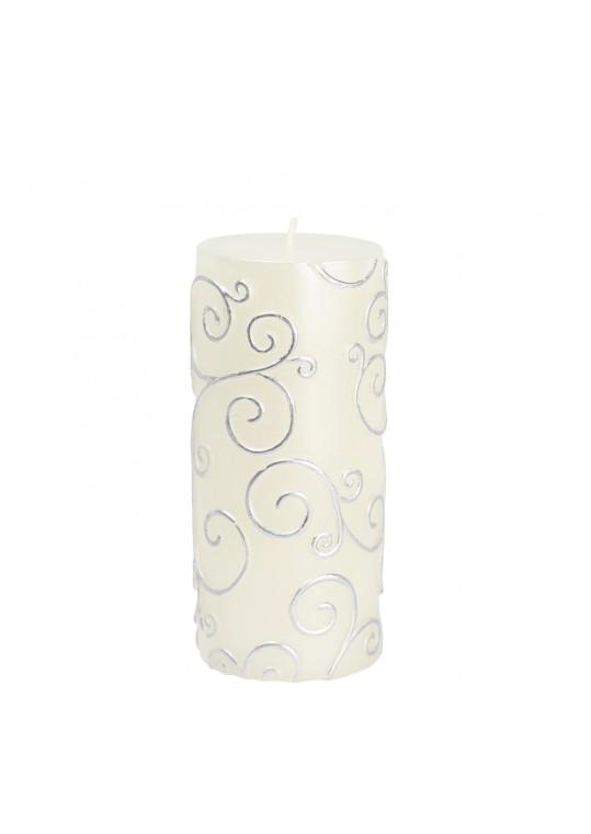 """3 x 6"""" White Scroll Pillar Candle (12pcs/Case) Bulk"""