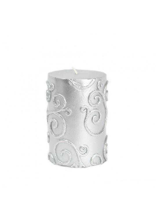"3 x 4"" Silver Scroll Pillar Candle (12pcs/Case) Bulk"