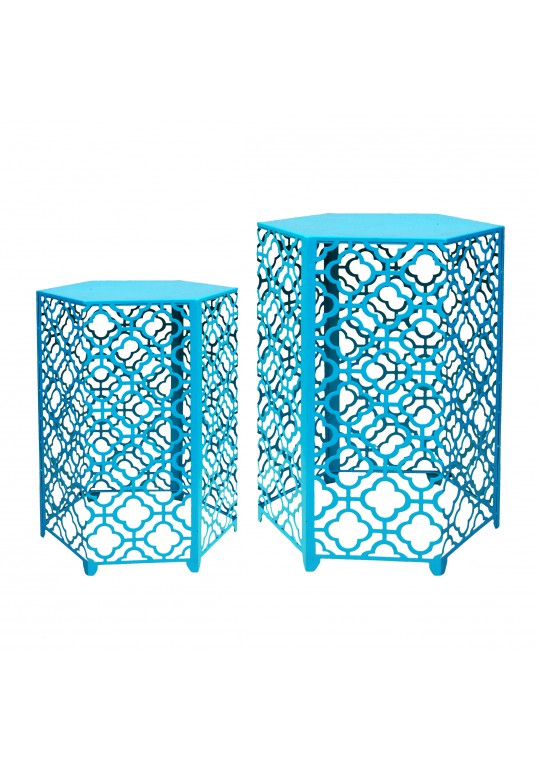 Set of 2 Hexagon Metal Side Table - Turquoise