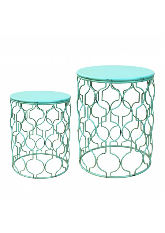 Set Of 2 Round Metal Side Table   Green