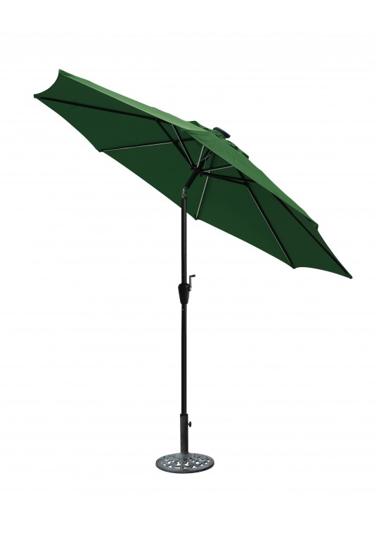 9 FT Aluminum Umbrella w/ Crank and Solar Guide Tubes - Black Pole/Green Fabric