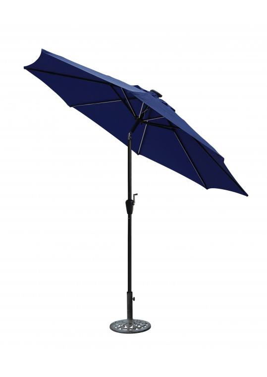 9 FT Aluminum Umbrella w/ Crank and Solar Guide Tubes - Black Pole/Blue Fabric
