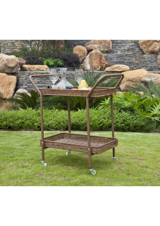 Honey Wicker Serving Cart