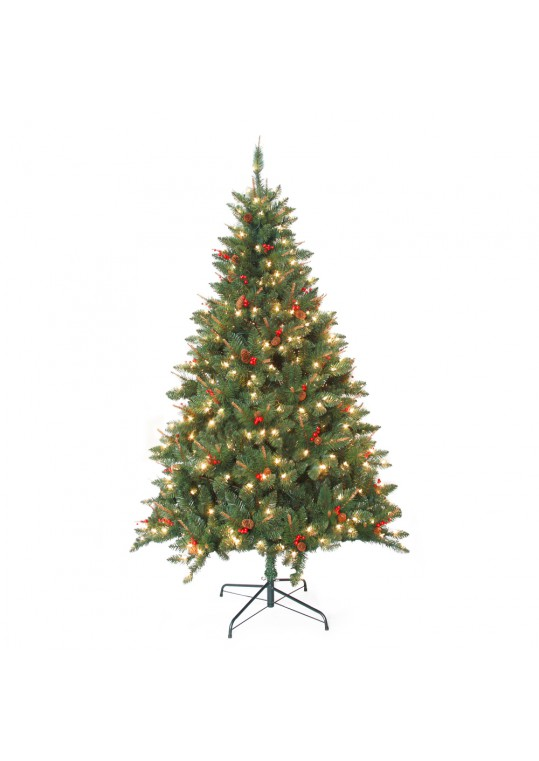 7 Feet. Pre-Lit Berrywood Pine Artificial Christmas Tree