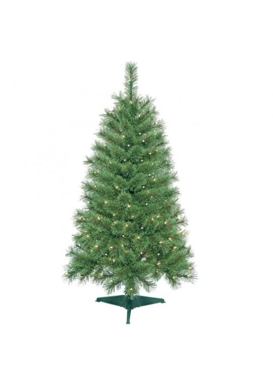 4 Feet. Pre-Lit Artificial Christmas Tree