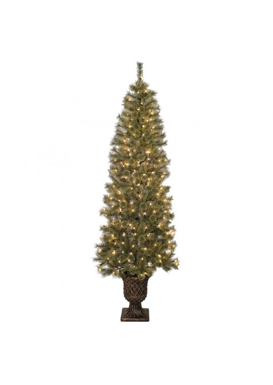 7 Feet. Pre-Lit Artificial Christmas Tree With Urn Base