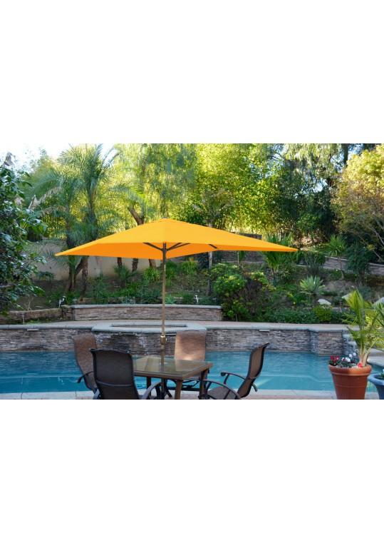 6.5' x 10' Aluminum Patio Market Umbrella Tilt w/ Crank - Yellow Fabric/Bronze Pole