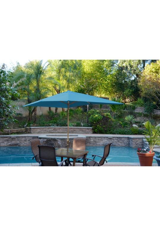 6.5' x 10' Aluminum Patio Market Umbrella Tilt w/ Crank - Turquoise Fabric/Bronze Pole