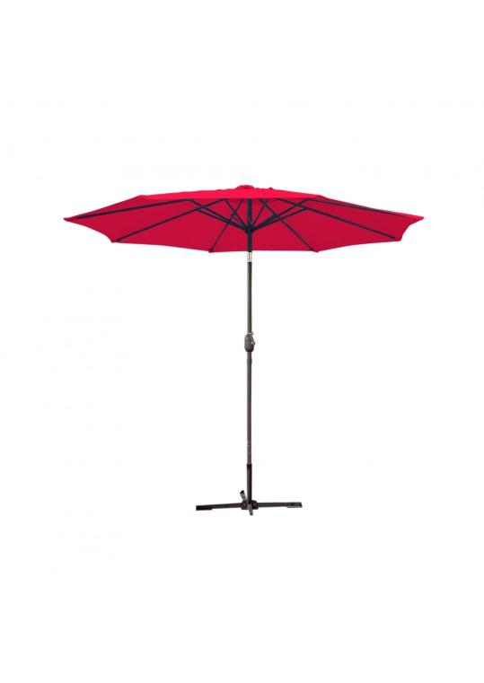 9ft. Aluminum Patio Market Umbrella Tilt w/ Crank - Red Fabric/Grey Pole