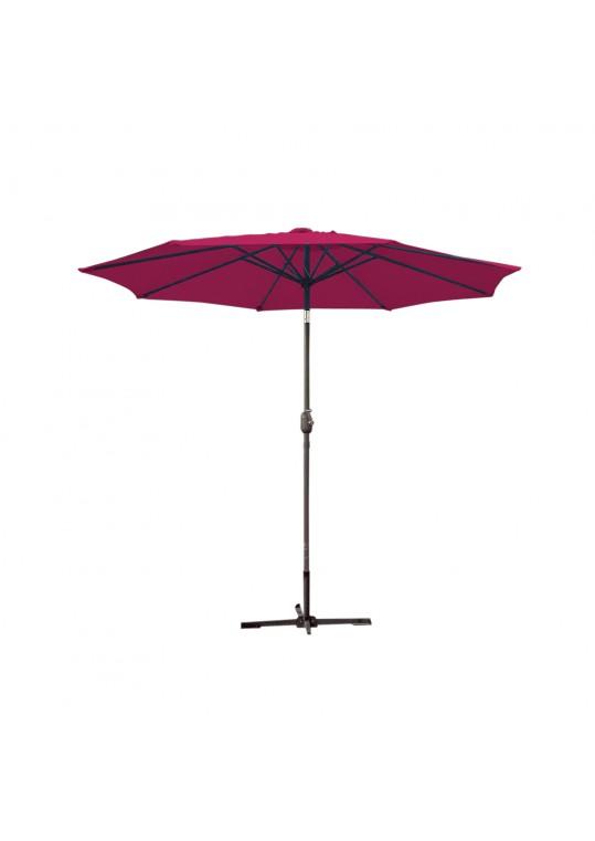 9ft. Aluminum Patio Market Umbrella Tilt w/ Crank - Burgundy Fabric/Grey Pole