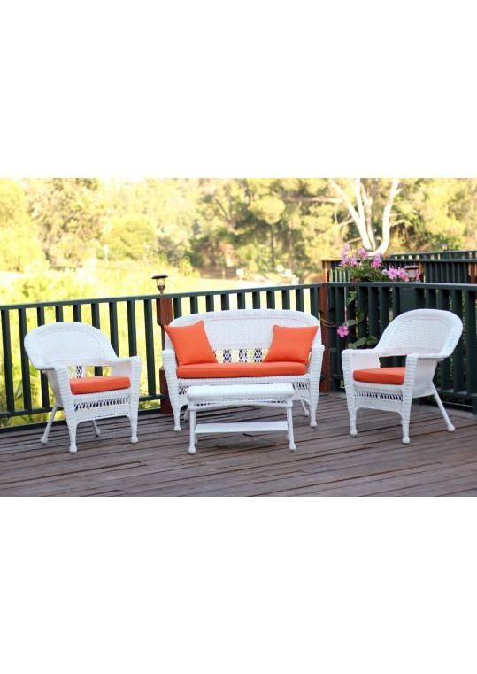4pc White Wicker Conversation Set - Orange Cushions