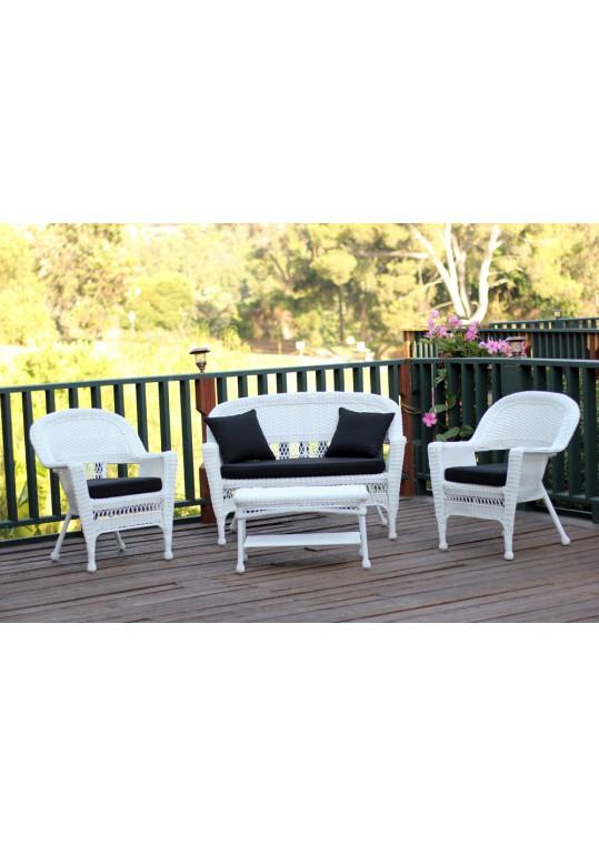 4pc White Wicker Conversation Set - Black Cushions