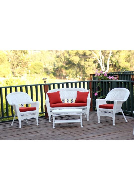 4pc White Wicker Conversation Set - Red Orange Cushions