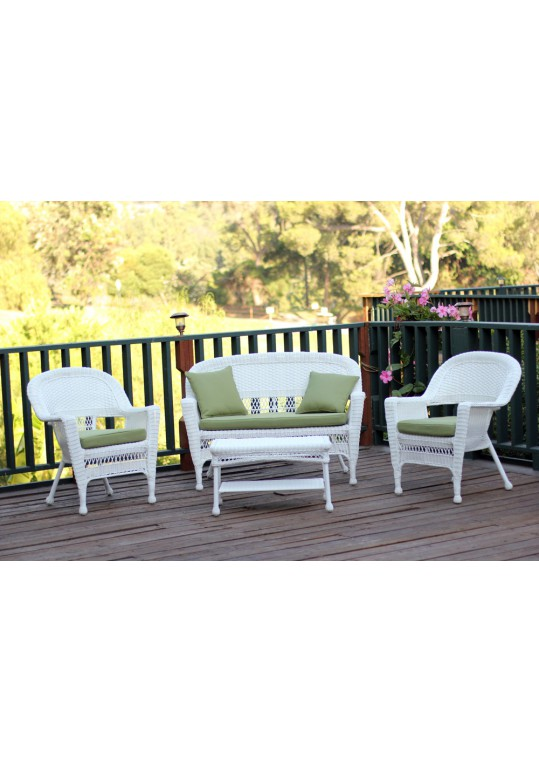 4pc White Wicker Conversation Set - Green Cushions