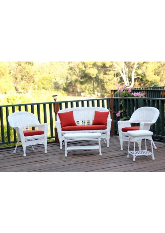 5pc White Wicker Conversation Set - Red Orange Cushions