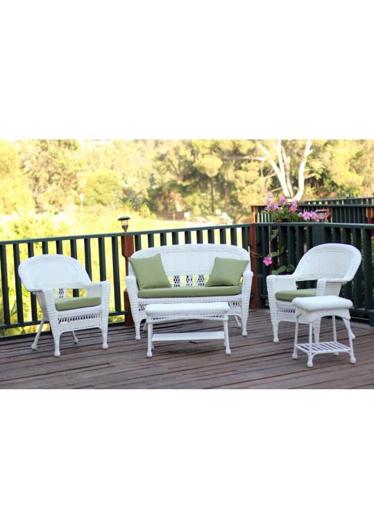 5pc White Wicker Conversation Set - Green Cushions