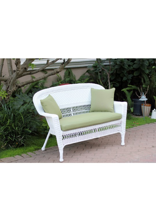 White Wicker Patio Love Seat With Sage Green Cushion and Pillows
