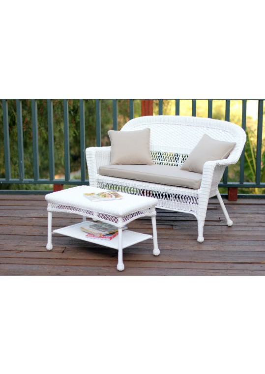 White Wicker Patio Love Seat And Coffee Table Set With Tan Cushion