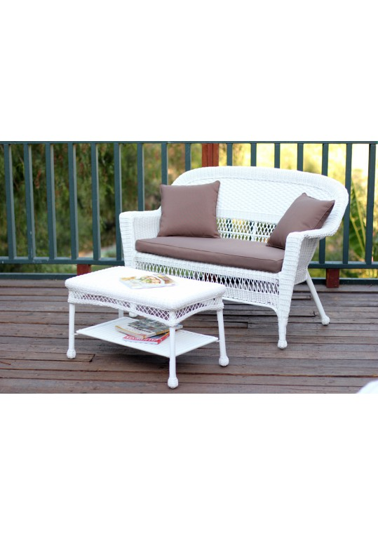 White Wicker Patio Love Seat And Coffee Table Set With Brown Cushion