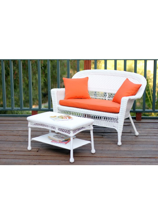 White Wicker Patio Love Seat And Coffee Table Set With Orange Cushion