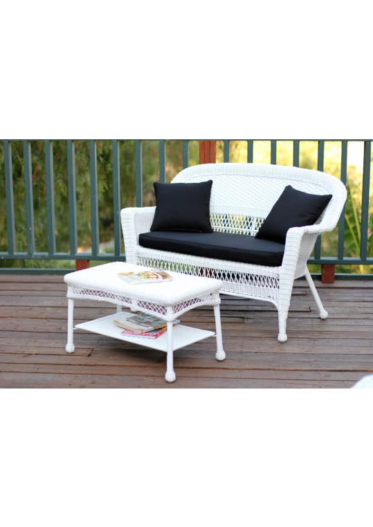 White Wicker Patio Love Seat And Coffee Table Set With Black Cushion