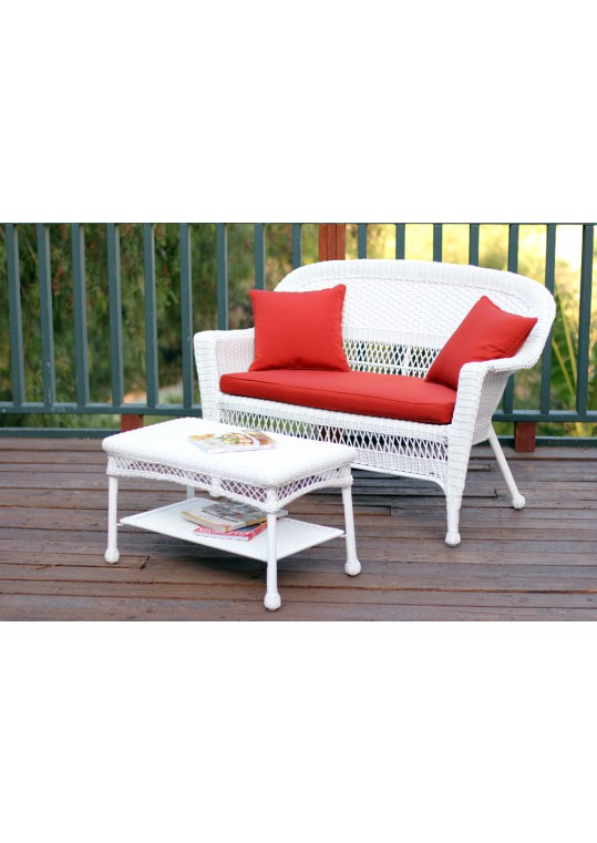 White Wicker Patio Love Seat And Coffee Table Set With Red Orange Cushion