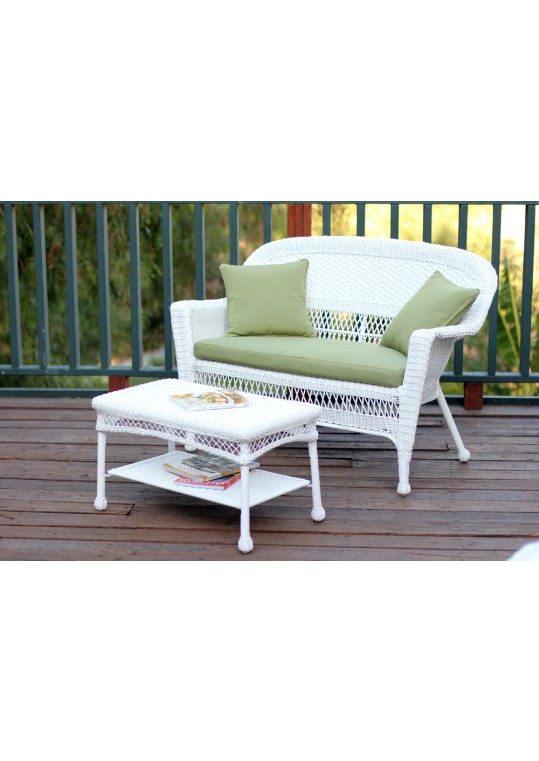 White Wicker Patio Love Seat And Coffee Table Set With Green Cushion