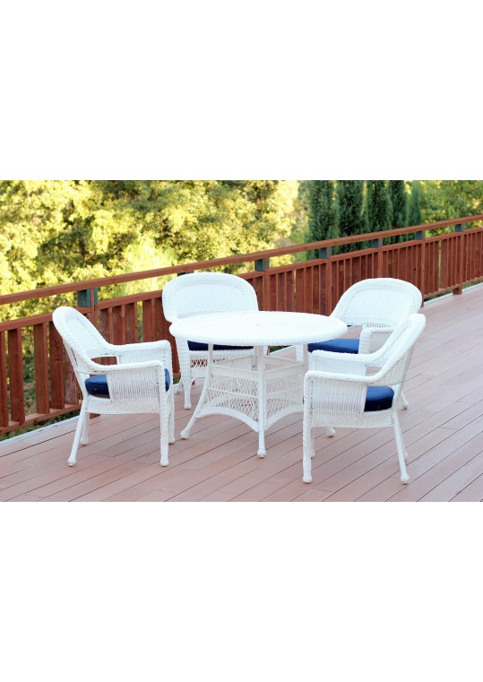5pc White Wicker Dining Set - Blue Cushions